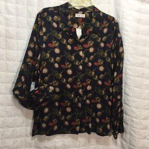 Talbots fun watch print blouse vintage M